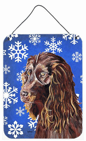 Buy this Boykin Spaniel Blue Snowflake Winter Wall or Door Hanging Prints