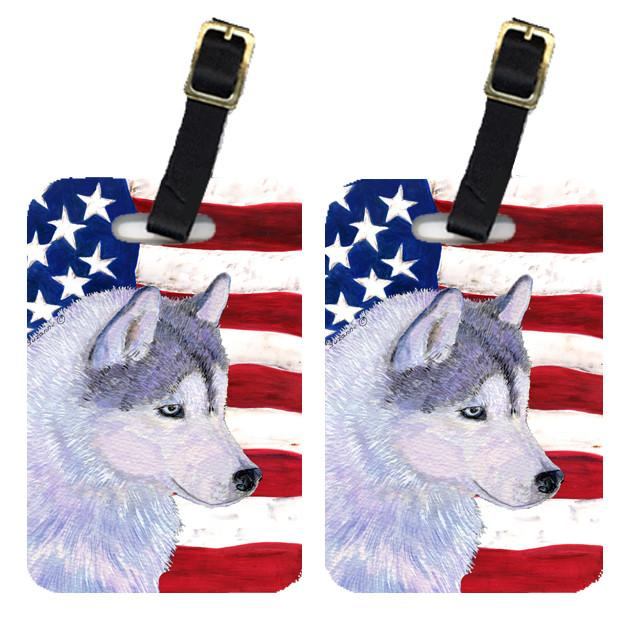 Buy this Pair of USA American Flag with Siberian Husky Luggage Tags SS4220BT