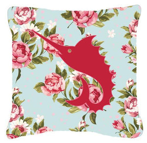 Buy this Fish - Sword Fish Shabby Chic Blue Roses Canvas Fabric Decorative Pillow BB1097
