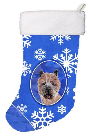 Buy this Norwich Terrier Winter Snowflakes Christmas Stocking SC9782-CS