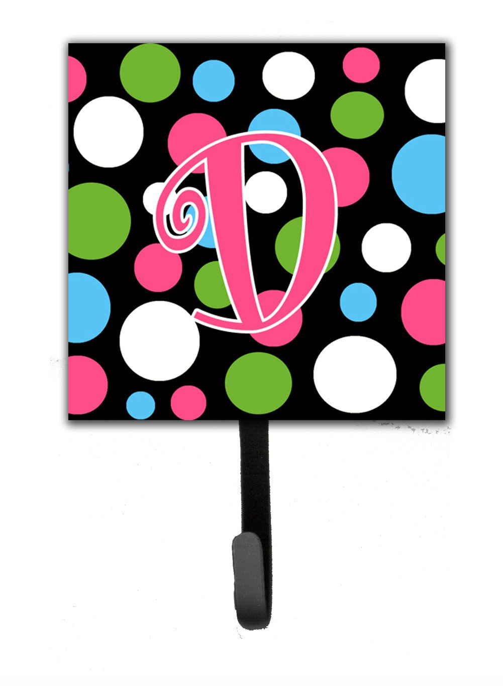 Letter D Initial Monogram - Polkadots and Pink Leash Holder or Key Hook by Caroline's Treasures