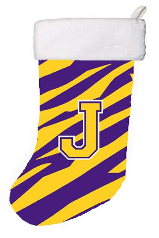 Buy this Tiger Stripe - Purple Gold Initial J Monogram Initial Christmas Stocking