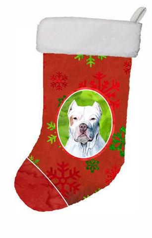 Buy this Pit Bull Red and Green Snowflakes Holiday Christmas Christmas Stocking SC9421