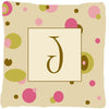Letter J Initial Monogram - Tan Dots Decorative   Canvas Fabric Pillow by Caroline's Treasures