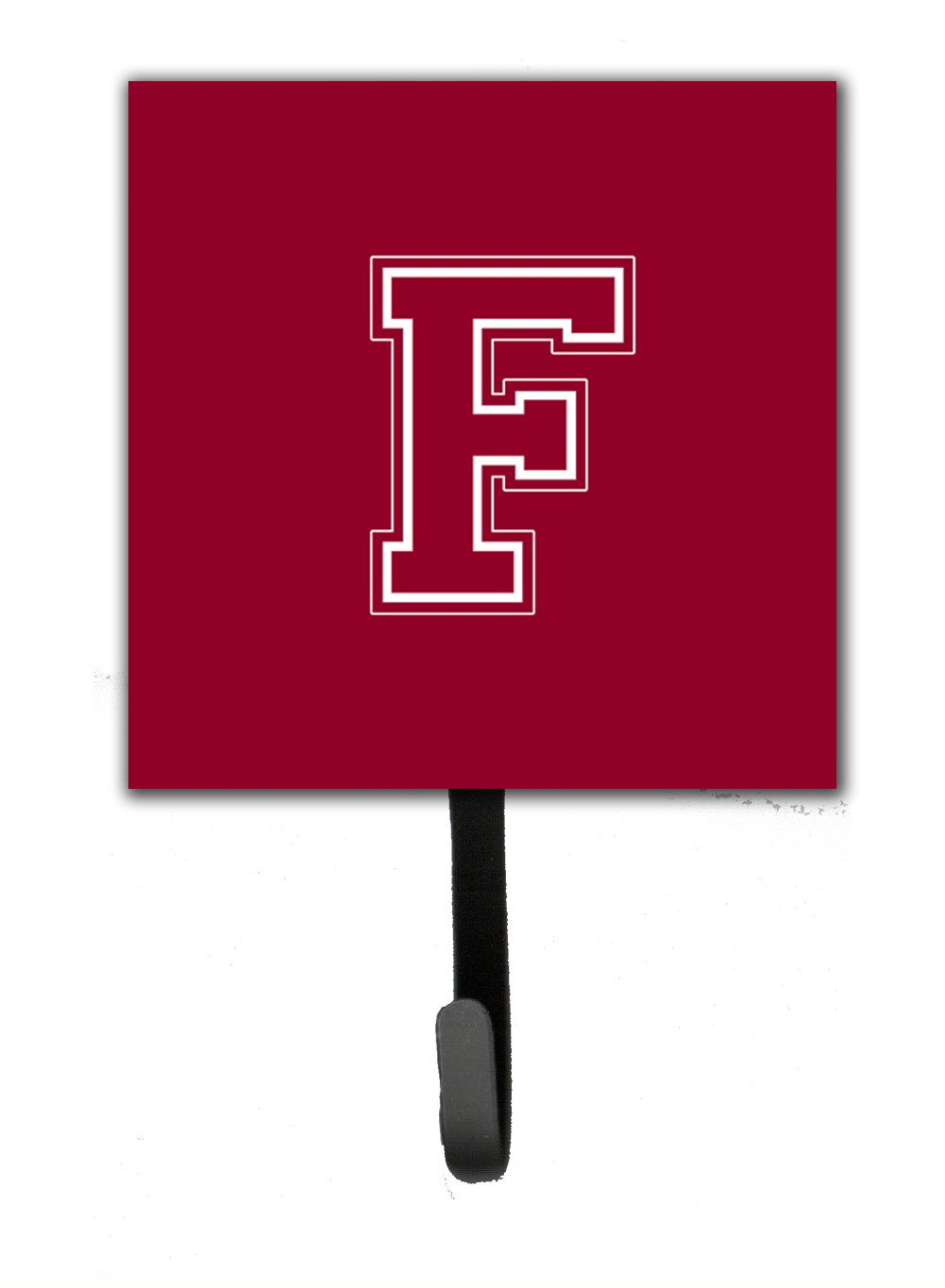 Letter F Initial Monogram - Maroon and White Leash Holder or Key Hook by Caroline's Treasures