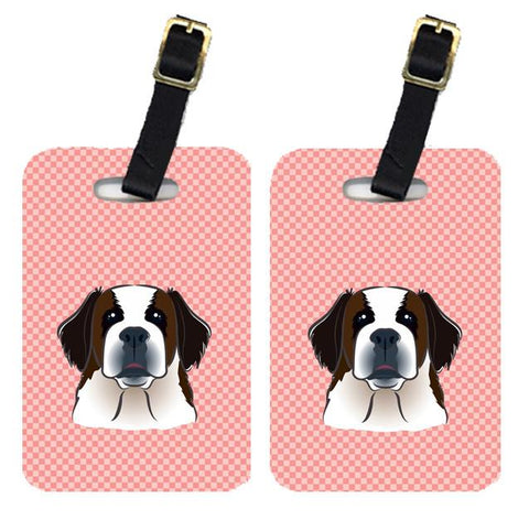 Buy this Pair of Checkerboard Pink Saint Bernard Luggage Tags BB1246BT