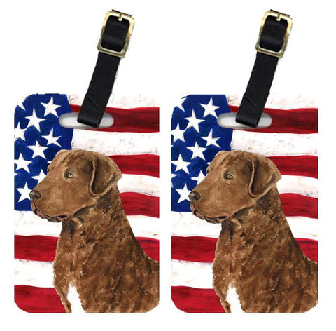 Buy this Pair of USA American Flag with Curly Coated Retriever Luggage Tags SS4016BT