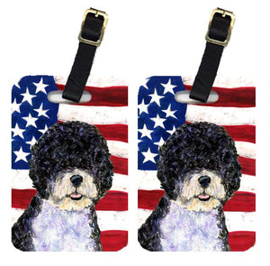 Buy this Pair of USA American Flag with Portuguese Water Dog Luggage Tags SS4053BT