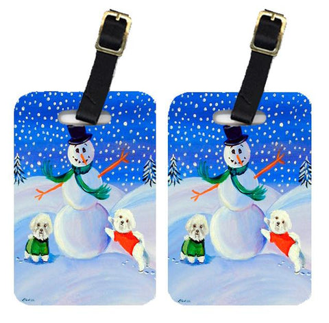 Buy this Snowman with a Bichon Frise Luggage Tags Pair of 2