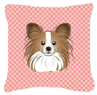 Checkerboard Pink Papillon Canvas Fabric Decorative Pillow BB1248PW1414 - the-store.com