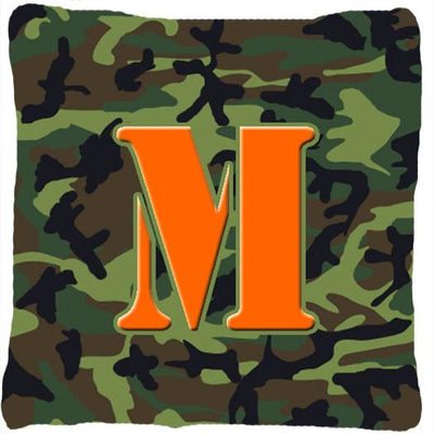 Buy this Monogram Initial M Camo Green Decorative   Canvas Fabric Pillow CJ1030