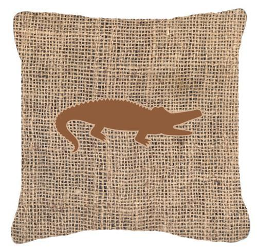 Alligator Burlap and Brown   Canvas Fabric Decorative Pillow BB1120 by Caroline's Treasures