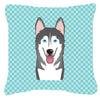 Checkerboard Blue Alaskan Malamute Canvas Fabric Decorative Pillow BB1156PW1414 - the-store.com