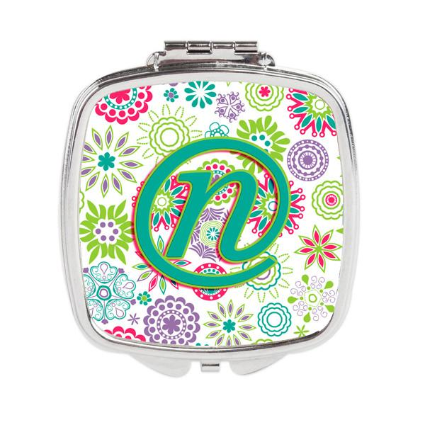Letter N Flowers Pink Teal Green Initial Compact Mirror CJ2011-NSCM by Caroline's Treasures