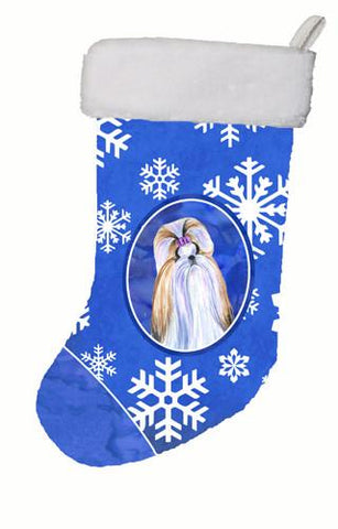 Buy this Shih Tzu Winter Snowflakes Christmas Stocking SS4603
