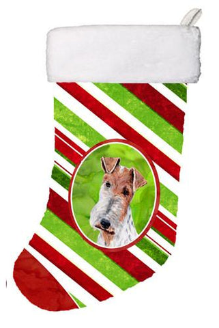 Buy this Wire Fox Terrier Candy Cane Christmas Christmas Stocking SC9796-CS