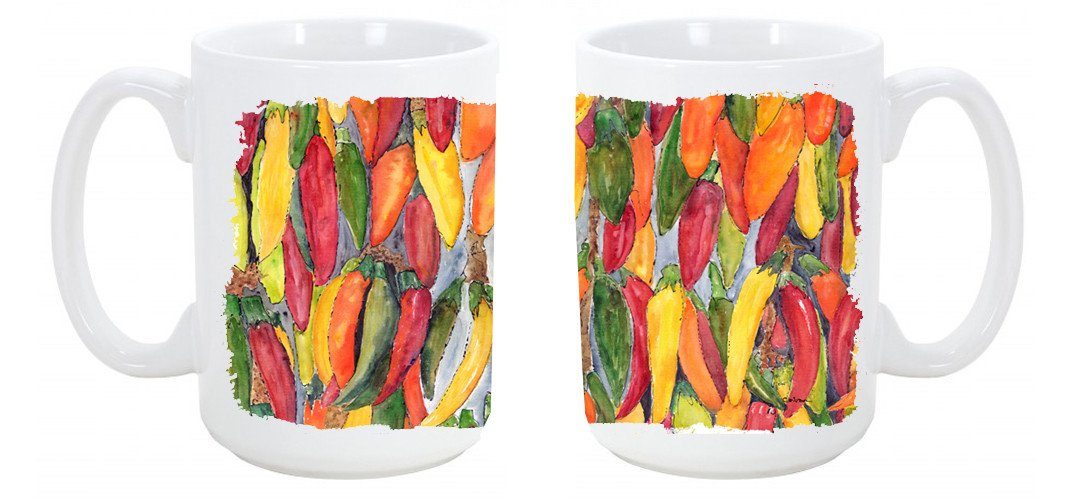 Hot Peppers Dishwasher Safe Microwavable Ceramic Coffee Mug 15 ounce 8893CM15 by Caroline's Treasures