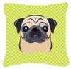 Checkerboard Lime Green Fawn Pug Canvas Fabric Decorative Pillow BB1324PW1414 - the-store.com