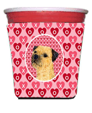 Buy this Border Terrier Valentine's Love and Hearts Red Solo Cup Beverage Insulator Hugger