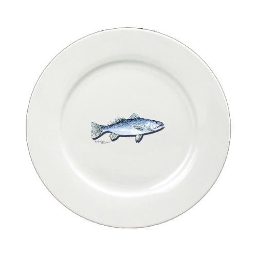 Speckled Trout Round Ceramic White Salad Plate 8496-DPW by Caroline's Treasures