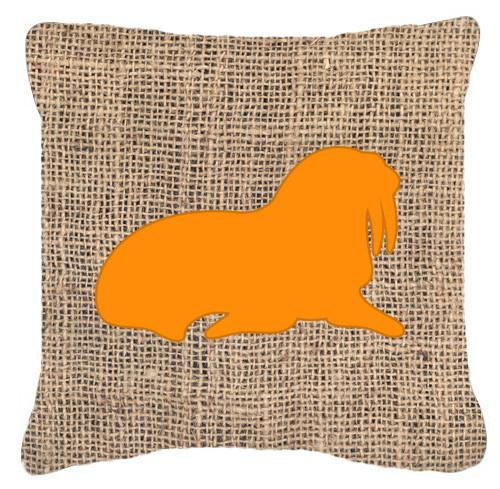 Walrus Burlap and Orange   Canvas Fabric Decorative Pillow BB1017 by Caroline's Treasures