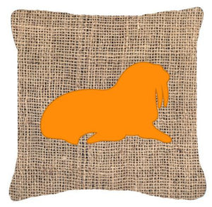 Buy this Walrus Burlap and Orange   Canvas Fabric Decorative Pillow BB1017