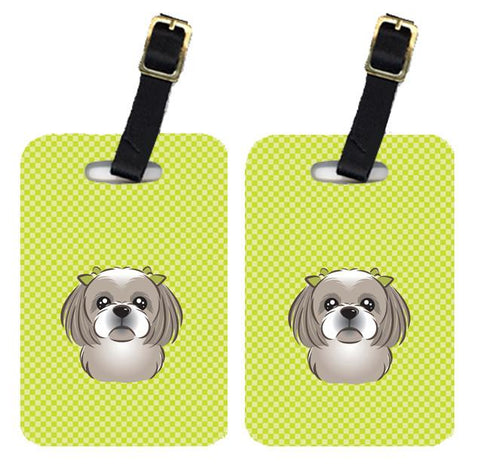 Buy this Pair of Checkerboard Lime Green Gray Silver Shih Tzu Luggage Tags BB1312BT