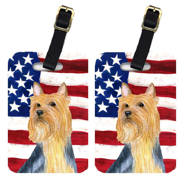 Buy this Pair of USA American Flag with Silky Terrier Luggage Tags SS4250BT