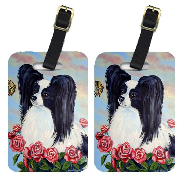 Buy this Pair of 2 Black and White Papillon in Roses Luggage Tags