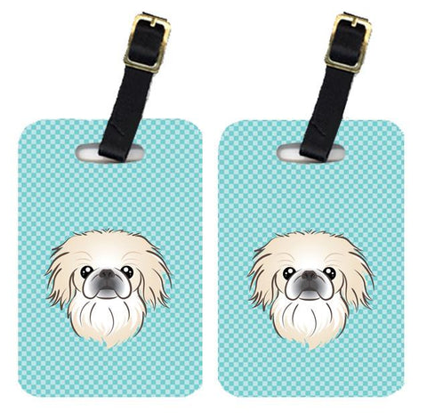 Buy this Pair of Checkerboard Blue Pekingese Luggage Tags BB1159BT