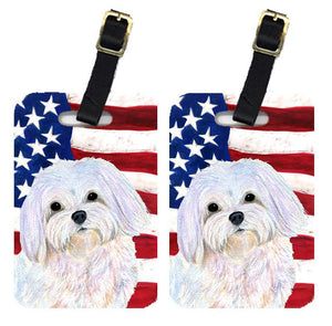 Buy this Pair of USA American Flag with Maltese Luggage Tags SS4044BT