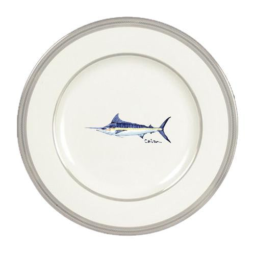 Buy this Fish Blue Marlin Ceramic - Plate Round Platinum Rim 11 inch 8674-DPPR
