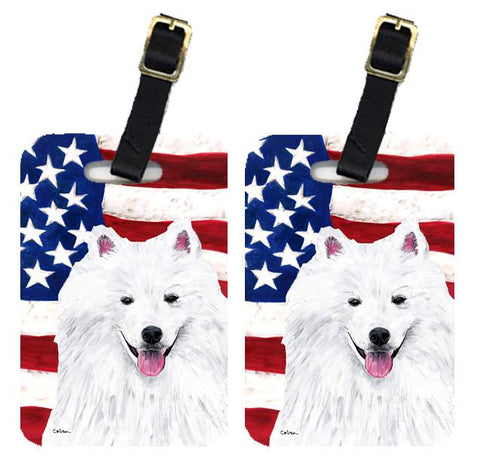 Buy this Pair of USA American Flag with American Eskimo Luggage Tags SC9023BT