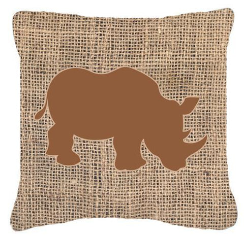 Buy this Rhinoceros Burlap and Brown   Canvas Fabric Decorative Pillow BB1006