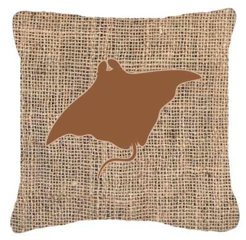 Buy this Manta ray Burlap and Brown   Canvas Fabric Decorative Pillow BB1014