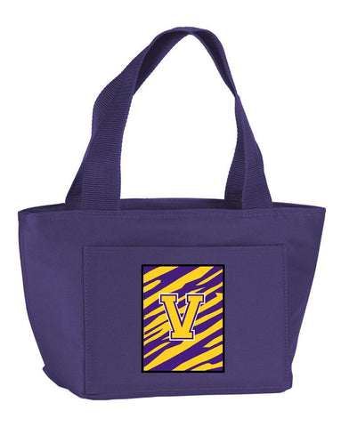 Buy this Letter V Monogram - Tiger Stripe - Purple Gold Lunch Bag or Doggie Bag CJ1022-V-PR-8808