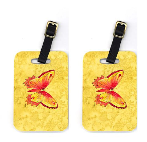 Buy this Pair of Butterfly on Yellow Luggage Tags