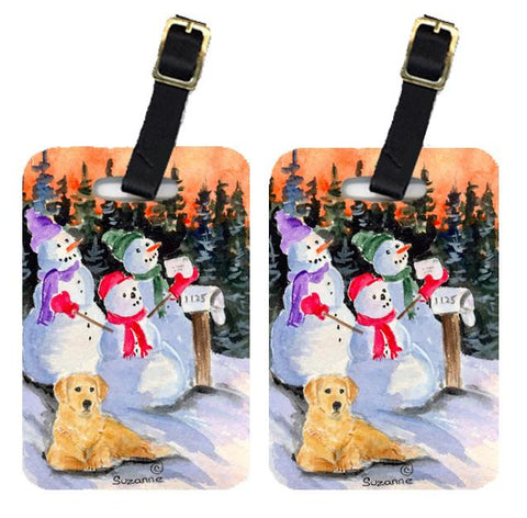 Buy this Snowman with Golden Retriever Luggage Tags Pair of 2