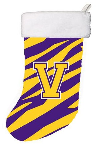 Buy this Tiger Stripe - Purple Gold Initial V Monogram Initial Christmas Stocking