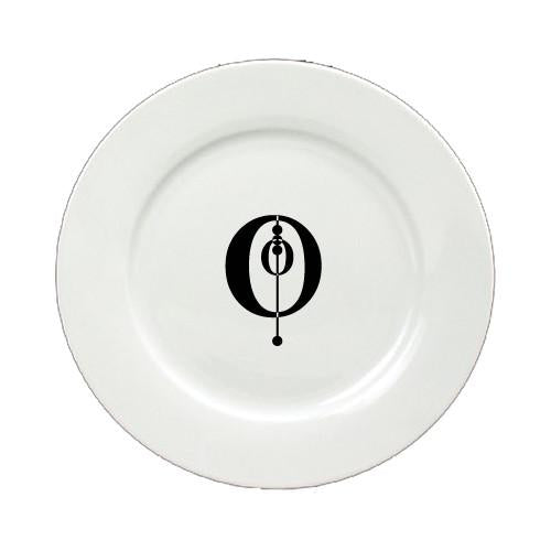 Buy this Letter O Initial Monogram Modern Round Ceramic White Salad Plate CJ1056-O-DPW