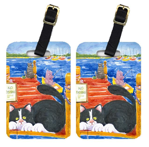 Pair of 2 Black and White Cat  No Fishing Luggage Tags by Caroline's Treasures