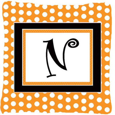 Buy this Monogram Initial N Orange Polkadots Decorative   Canvas Fabric Pillow CJ1033
