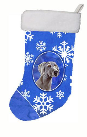 Buy this Weimaraner Winter Snowflakes Snowflakes Holiday Christmas  Stocking LH9296