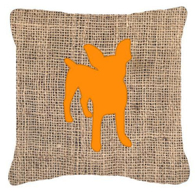 Chihuahua Burlap and Orange   Canvas Fabric Decorative Pillow BB1108 - the-store.com
