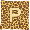 Buy this Monogram Initial P Giraffe Decorative   Canvas Fabric Pillow CJ1025