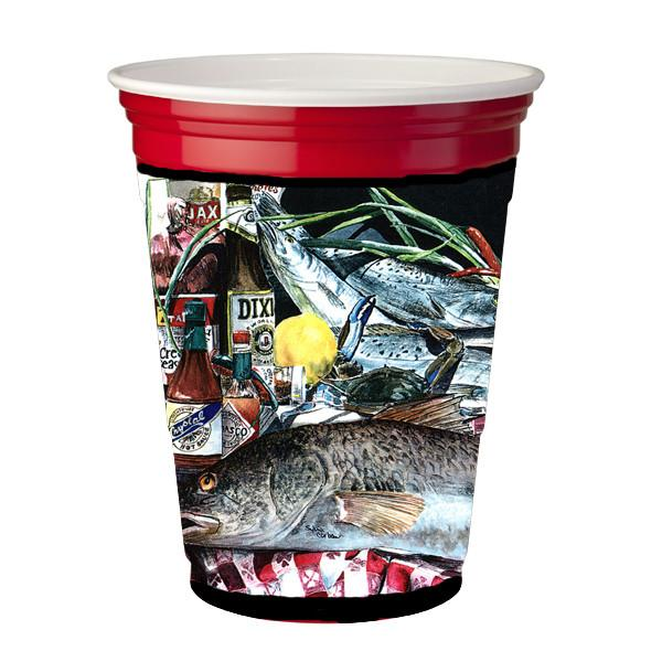 Buy this Fish and Beers from New Orleans  Red Solo Cup Beverage Insulator Hugger
