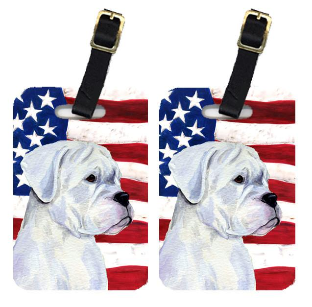 Buy this Pair of USA American Flag with Boxer Luggage Tags SS4036BT