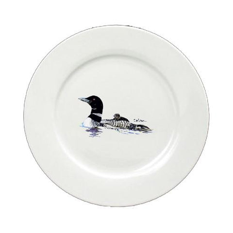 Buy this Loon Momma and Baby Round Ceramic White Salad Plate 8718-DPW