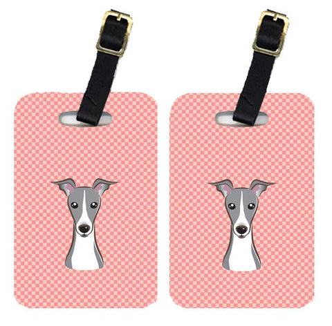 Buy this Pair of Checkerboard Pink Italian Greyhound Luggage Tags BB1236BT