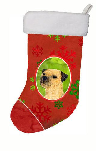 Buy this Border Terrier Red and Green Snowflakes Holiday Christmas Christmas Stocking